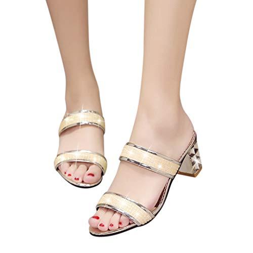 LianMengMVP Damen Mode Pantoletten Sommer Outdoor Strand Sandaletten Kristall Quadrat Ferse Sandalen Badeschuhe Dicke Ferse Schuhe Outdoor Hausschuhe