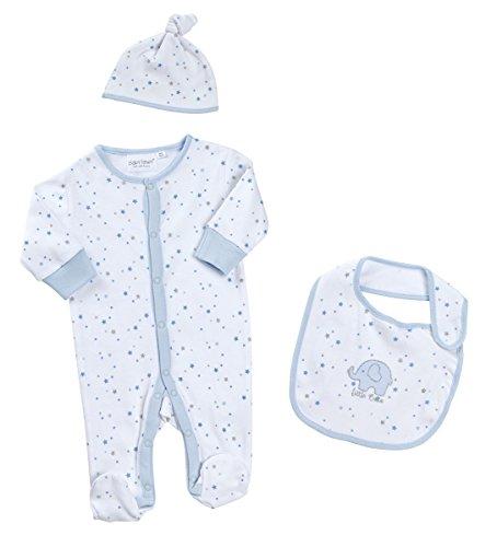 BabyTown 3Stück Baby Baumwolle Schlafanzug Hat & Lätzchen-Set Gr. 3-6 Monate, blau