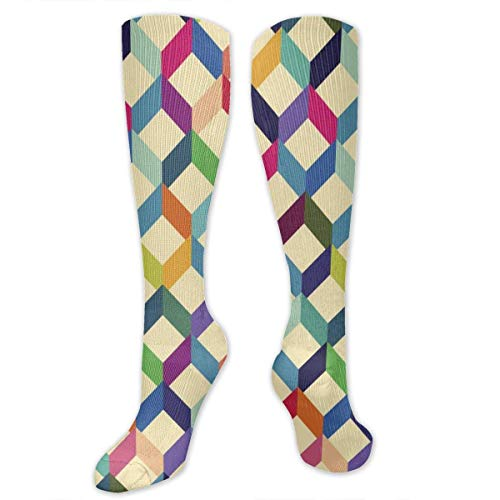 Jxrodekz Zigzags Geometric Pattern Polyester Cotton Over Knee Leg High Socks Sexy Unisex Thigh Strümpfe Cosplay Boot Long Tube Socks for Sports Gym Yoga Hiking Cycling Running Football -