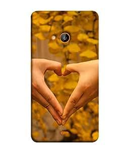 FUSON Designer Back Case Cover for Microsoft Lumia 535 :: Microsoft Lumia 535 Dual SIM :: Nokia Lumia 535 (Close Up Male And Female Hands Making Heart Shape)
