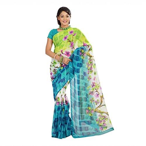 Shaktideal Dailywear light weight printed sarees pink and orange
