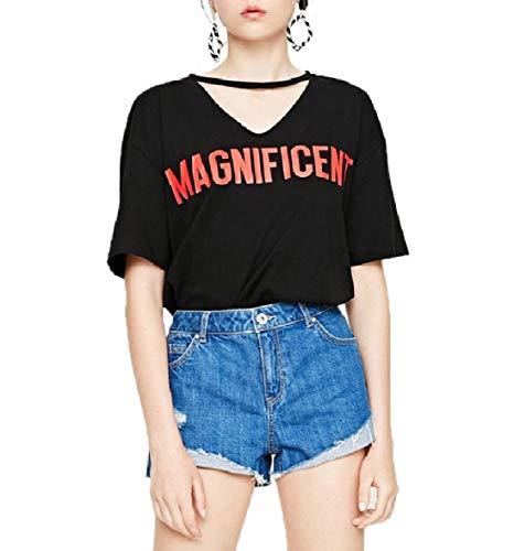 CuteRose Women Tops Short Sleeve Stylish Cozy Letter Printed T-Shirts Black XS -