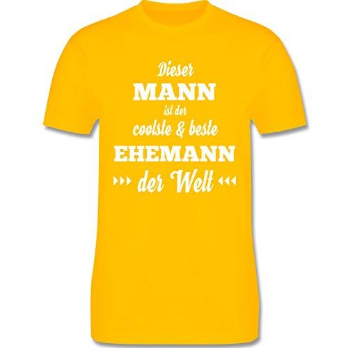 Shirtracer Typisch Männer - Dieser Mann ist der Coolste und Beste Ehemann - Herren T-Shirt Rundhals Gelb
