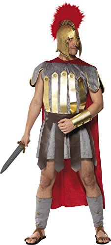 Smiffys, Herren Römischer Krieger Kostüm, Überwurf mit Umhang, Arm- und Beinschutz und Kampfschürze, Größe: M, (Herren Römischen Kostüm)