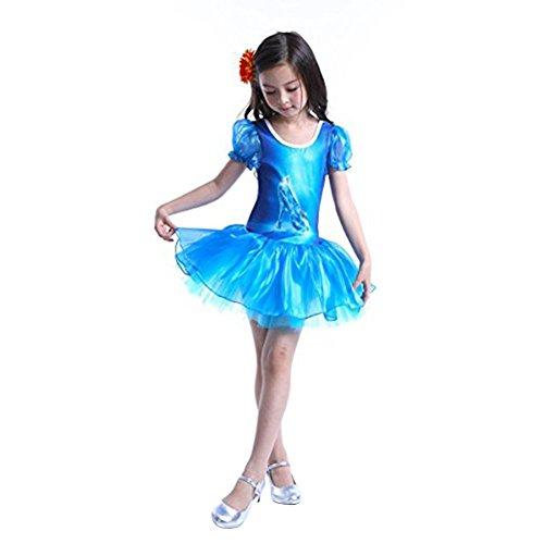 [Tanzkleid Prinzessin] Kristallschuhe-Aufdruck Kinder Mädchen Tanzkleidung Ballettanzug Ballett Trikot Tutu Kleid Patykleid Kostüm Blau (Tanzkleider Kostüme Details)