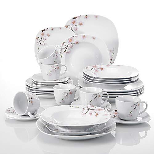Veweet ANNIE 30pcs Service de Table Porcelaine 6pcs Assiette Plate/Assiette à Dessert/Assiette Creuse/Tasse avec Soucoupes pour 6 Personnes Vaisselles Céramique Design Fleuri Sakura