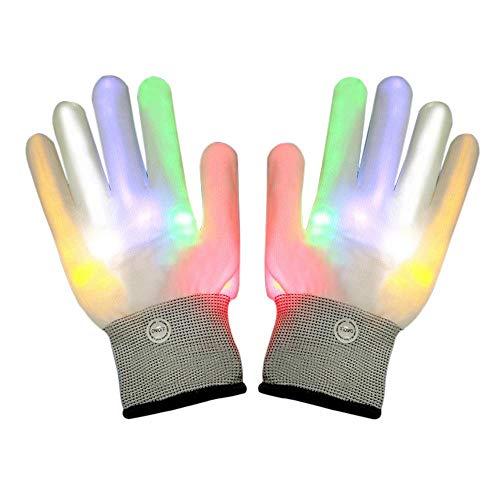 (Leuchtende Handschuhe, FOONEE LED Handschuhe mit 3 Farben blinkende Einstellungen 6 Modi Coole Spielzeuge Kostüm Geschenk für Kinder Mädchen Junge die Party Halloween Weihnachten)