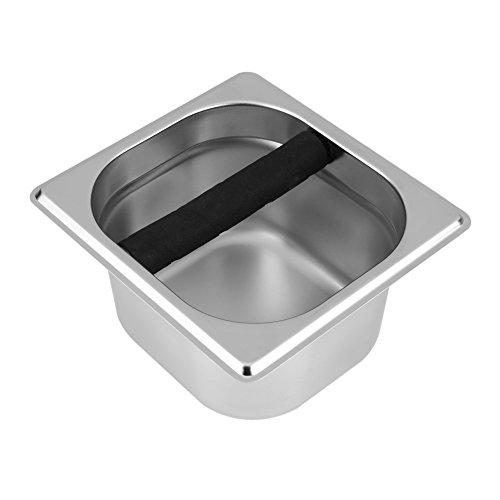 Fosa Edelstahl Espresso Knock Box Container mit Gummistange Kaffee-Mülleimer für Kaffeemaschine(klein,groß)(Klein) -