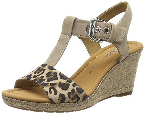 Gabor Shoes Damen Comfort Sport Riemchensandalen, Beige (Natur/Silk(Jute/N) 90), 37.5 EU - Nubuk Leder Keil