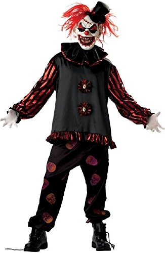 Fancy Me 5 Stück Herren Untoter unheimlich Killer Clown + Maske Halloween Kostüm Kleid Outfit - Schwarz, Medium (Unheimlich Clown Halloween-kostüme)
