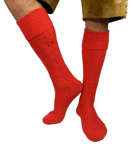 n Trachten Socken Strümpfe für Lederhose Kniebund Kurz Hose 39-42/ 43-46 / 47-49 (43-46, rot (trs2)) (Rote Trachten Socken)