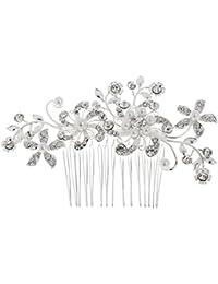 Joyería de Clip de Pedrería Boda de Novia Cristal Flor Perlas de Pelo Peine para Mujeres