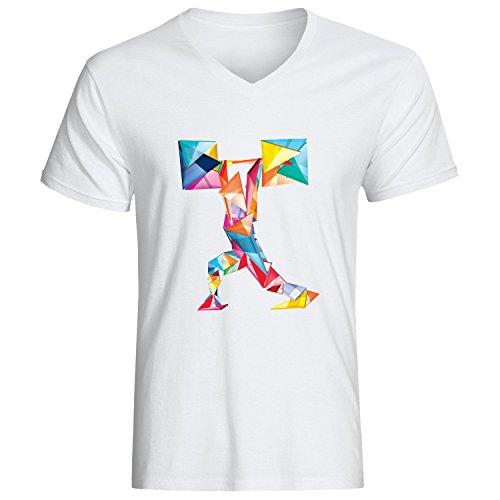 Sport motivational abstract art logo dope Herren baumvolle V-neck t-shirt Weiß