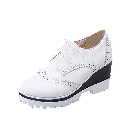 AllhqFashion Femme Couleur Unie Matière Souple à Talon Haut Lacet Rond Chaussures Légeres Blanc
