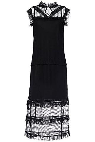 FIND Robe Mi-longue Femme en Dentelle Volantée, Noir (Black), 40 (Taille Fabricant: Medium)