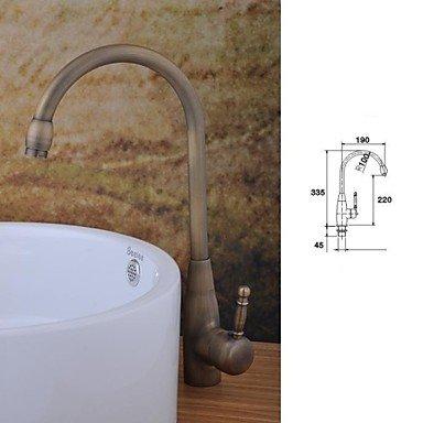 miaoge Messing antik Finish Single Loch Single Griff Badezimmer Waschbecken Wasserhahn (hoch) (Wasserhahn Motion Waschbecken)