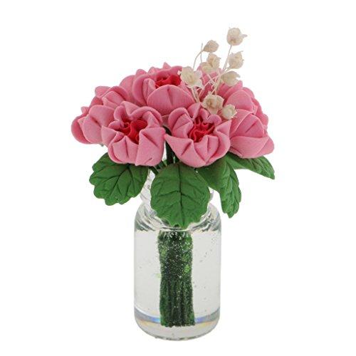 Gazechimp Miniatur Blumen Pflanzen in der Vase Für 1:12 Puppenhaus Puppenstube Deko
