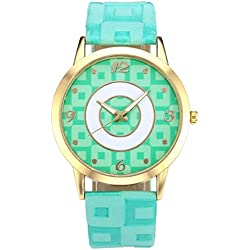 JSDDE Fahsion Gold Case Arabic Numerals Lattice Dial Green PU Leather Band Quartz Watch