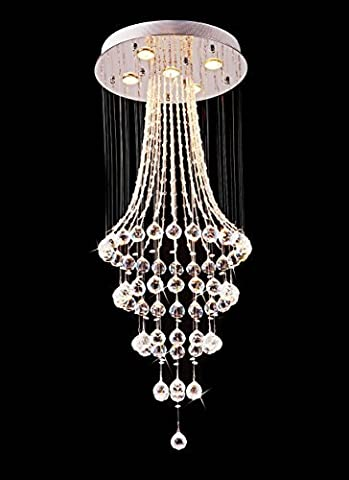 Saint Mossi Modern Crystal Raindrop Chandelier Lighting Flush mount LED Ceiling Light Fixture Pendant Lamp for Dining Room Bathroom Bedroom Livingroom 5*3W GU10 LED Required Height 110 cm x Width 45 cm