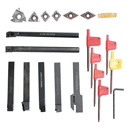 Yeshai3369 Drehwerkzeug-Halter für Bohrstange, Hartmetall-Einsteckschlüssel, 12 mm, 7 Stück