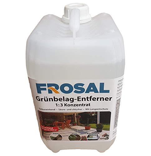 Frosal Grünbelag-Entferner Algenentferner Moosentferner | Grünbelagentferner | Entmooser Stein-Reiniger 5 Liter Konzentrat 1 :3