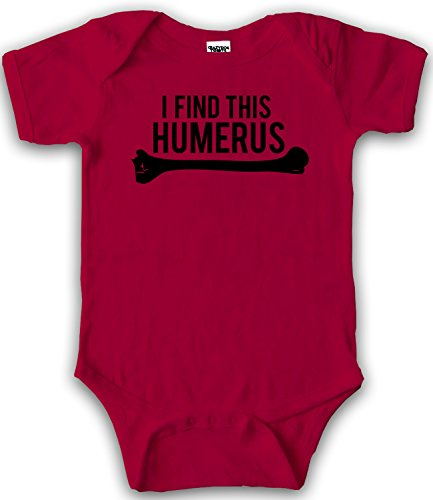 Crazy Dog Tshirts I Find This Humerus Baby Romper - Humorous Funny One Piece Bone Infant Creeper (Red) 3-6 Months - baby-jungen - 3-6 Months (Rot 3 Stück, Creeper)