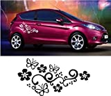AMOYER 1 Paire de Vigne de Fleur Papillon Voiture Decal Sticker pour Ordinateur Portable Tablet Window Mur Course Automobile Sport Auto Moto Voiture Camion