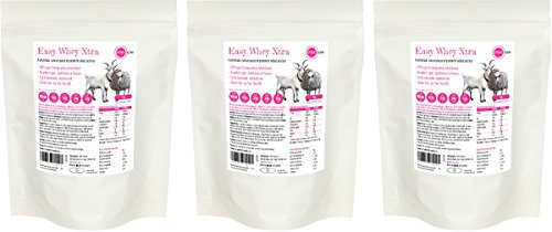 PINK SUN Easy Whey Xtra Goat and Sheep Whey Protein Concentrate Powder 1kg x 3 (80% protein) - Soy free, pasture fed, hormone free - Bulk Buy Test