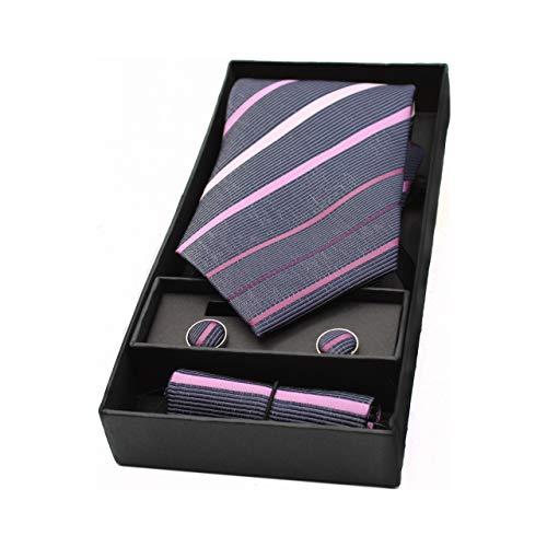 Pangea Plaza Herren-Krawatte, Manschettenknöpfe und Taschentuch Besondere Mode für Hochzeiten und Events. Klassisches und elegantes Design. Breiter Schaufel. Ideal als Geschenk, Violett onesize