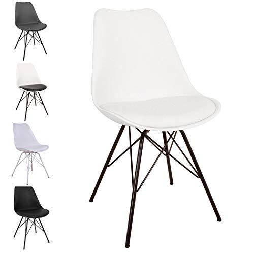 Comfort Stuhl in skandinavischem Design | Esszimmerstühle und Küchenstühle | Stühle in Schwarz, Weiß, Grau und mehreren Farben | Sitzkissen Stuhl | Retro Stuhl (Weiß)