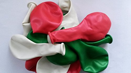 Sachsen Versand 50-rot-weiß-grün- metallic- Luft-Ballons glänzend-metall-Feier-Deco-Geburtstag-Fete-Helium-geeignet EU Ware