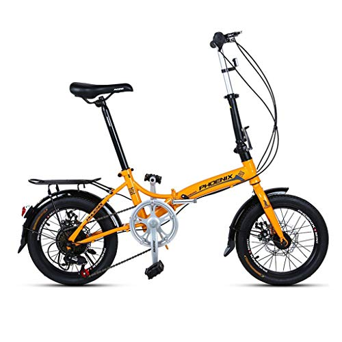Klappräder 16 Zoll Männer Und Frauen Modelle Leichte Fahrrad Erwachsene Mini Geschwindigkeit Auto Doppelscheibenbremse (Color : Yellow, Size : 150 * 30 * 96cm)