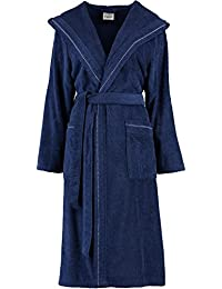 8e92d00847 Michaelax-Fashion-Trade Cawö - Damen Frottier Bademantel mit Kapuze in  Blau, Weiß