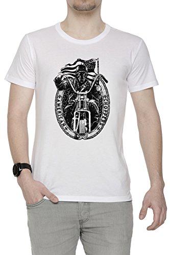 American Choppers Uomo T-shirt Bianco Cotone Girocollo Maniche Corte White Men's T-shirt
