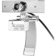 Webcam 720P, GUCEE HD92 Cámara Web de Alta Definición con Micrófono y Conector USB 2.0, Web Cam Plug and Play Compatible con Skype,MSN,Facebook,Google Hangouts, Webcam con una Apertura de F2.0 para Mac, PC, Portátil, Ordenador, etc.