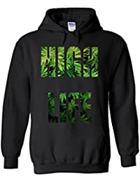 High Life Weed Drug Funny Novelty White Femme Homme Men Women Unisex Sweat à Capuche Hooded Sweatshirt Hoodie