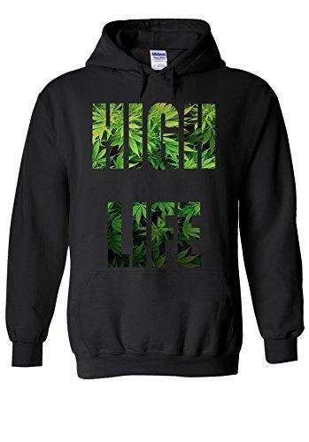 High Life Weed Drug Funny Novelty Black Men Women Unisex Hooded Sweatshirt Hoodie-S