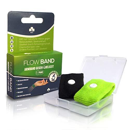 Sanicos Flow Band - Hochwertiges Akupressur Armband - Befreit zuverlässig von Übelkeit - Natürlich wirksam bei Schwangerschaftsübelkeit, Seekrankheit, Reiseübelkeit uvm - grün -