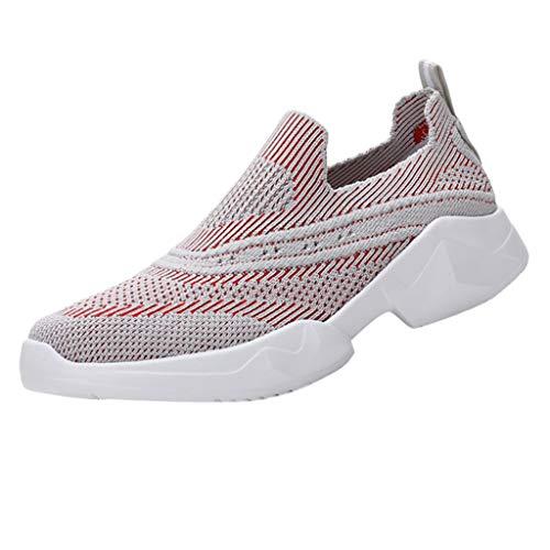 Saihui Damen Sportschuhe Bequem Netz Gym Schuhe Atmungsaktives Turnschuhe Sneakers Laufschuhe Fitness Leicht rutschfeste Turnschuhe für Herren Damen (EU:38, Rot)