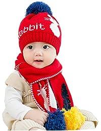 Bébé 2pcs Ensemble Bonnet Echarpe en Tricot Unisexe Chapeau Beanie à Pompon  Bonnet Calotte Cache-col Laine Epais Chaud Cagoule… 794712f8273