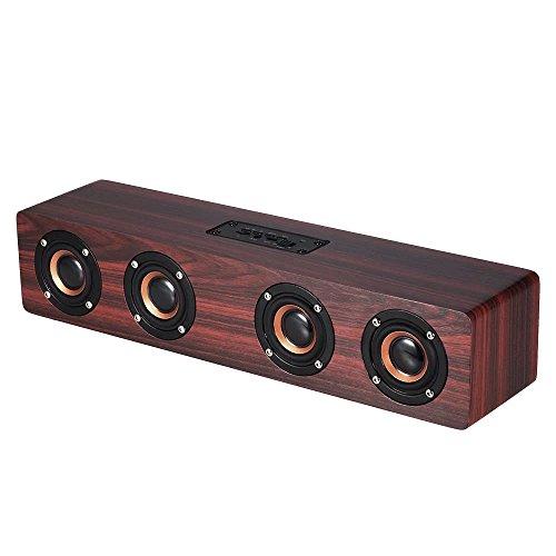 Wireless Bluetooth Speaker,Miya drahtlose Bluetooth High-Fidelity-Stereo-Bass-Lautsprecher Tf-Karte AUX Subwoofer tragbare Lautsprecher für TV-Heimkino 3D Holz Sound-Bar - rot