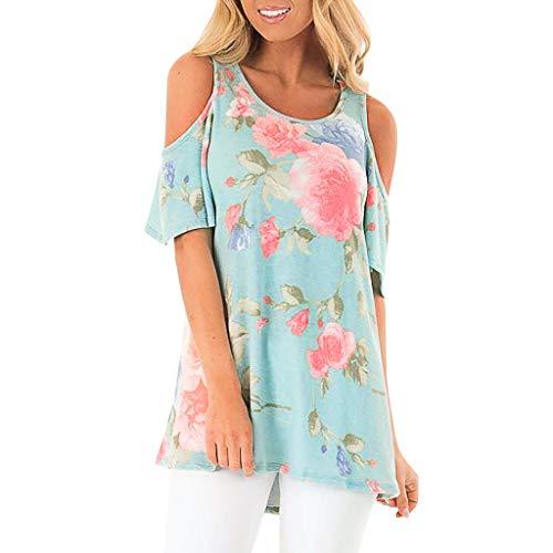 TOPSELD T Shirt Damen, Mode FüR Frauen O-Ansatz TräGerlosen Drucken Kurzarm T-Shirt,Bluse Einfache - Grinch Kostüm Baby