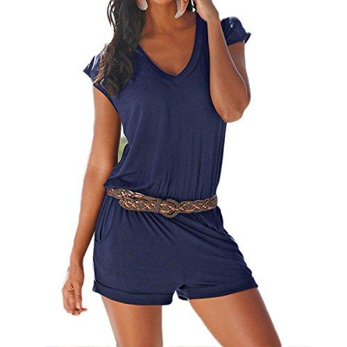 Minetom Donna Scollo a V Tuta Corta Pagliaccetto Elegante Estivo Pantaloncini Jumpsuit Blu IT 38