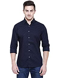 Marc Gibaldi Men's Navy Printed Cotton Slim Fit Casual Shirt
