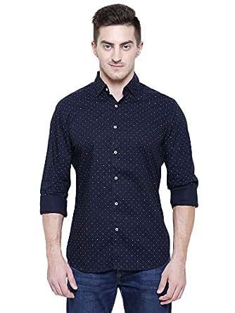 Marc Gibaldi Men's Navy Printed Cotton Slim Fit Casual Shirt