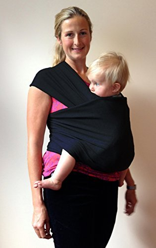 Bay Trading Company Black Baby Wrap Carrier ~ Organic Cotton for Safe, Comfortable Baby Wearing. Free Shipping and Detailed, Easy to Follow Instructions! Babies Feel More Secure so Develop Better