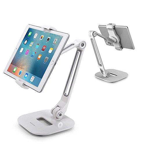 AboveTEK Long Arm Aluminium Tablet Ständer, Klapp Tablet Ständer mit 360 ° Swivel Clamp Halterung, passt 4-11