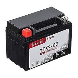 Accurat Motorradbatterie YTX9-BS 9Ah 130A 12V Gel Technologie Starterbatterie in Erstausrüsterqualität zyklenfest sicher lagerfähig wartungsfrei