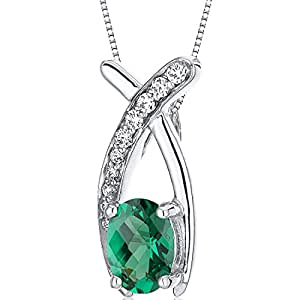 Revoni Lucid Elegance 0.75 carats Oval Cut Sterling Silver Rhodium Finish Emerald Pendant with 46 CM Silver Necklace