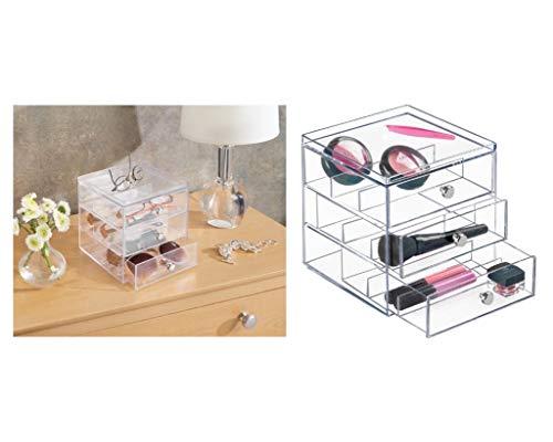 iDesign Clarity Stapelbarer Organizer mit 3 Schubladen für Lesebrillen, Brillen, Sonnenbrillen, durchsichtig -